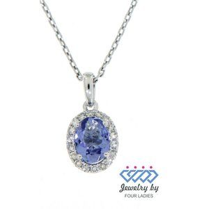 Tanzanite Diamond Oval Pendant Jewelry White Gold